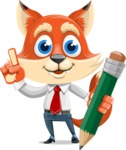 Fox Businessman Cartoon Vector character AKA Ben Tails - Pencil