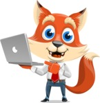 Fox Businessman Cartoon Vector character AKA Ben Tails - Laptop 1
