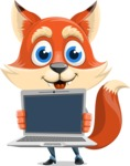 Fox Businessman Cartoon Vector character AKA Ben Tails - Laptop 2