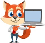Fox Businessman Cartoon Vector character AKA Ben Tails - Laptop 3