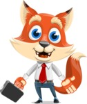 Fox Businessman Cartoon Vector character AKA Ben Tails - Briefcase 1