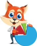 Fox Businessman Cartoon Vector character AKA Ben Tails - Chart