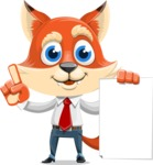 Fox Businessman Cartoon Vector character AKA Ben Tails - Sign 2