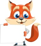 Fox Businessman Cartoon Vector character AKA Ben Tails - Sign 3