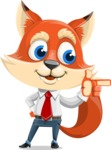 Fox Businessman Cartoon Vector character AKA Ben Tails - Point