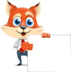 Fox Businessman Cartoon Vector character AKA Ben Tails - Sign 8
