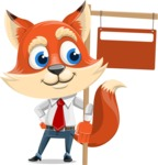 Fox Businessman Cartoon Vector character AKA Ben Tails - Sign 9