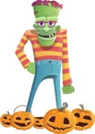 Halloween Zombie Cartoon Vector Character - Celebrating Halloween With Pumpkins