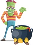 Halloween Zombie Cartoon Vector Character - Cooking in a Caldron