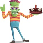 Halloween Zombie Cartoon Vector Character - Holding a Halloween Cake