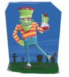 Halloween Zombie Cartoon Vector Character - On a Graveyard Background Illustration