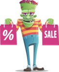 Halloween Zombie Cartoon Vector Character - Holding Shopping Bags