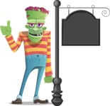 Halloween Zombie Cartoon Vector Character - With a Blank Vintage Street Sign