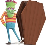 Halloween Zombie Cartoon Vector Character - With a Coffin and a Zombie