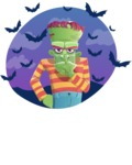 Halloween Zombie Cartoon Vector Character - With Bats Illustration
