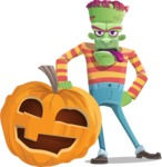 Halloween Zombie Cartoon Vector Character - With Big Halloween Pumpkin
