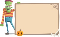 Halloween Zombie Cartoon Vector Character - With Blank Halloween Whiteboard