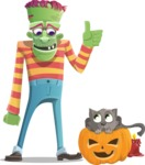 Halloween Zombie Cartoon Vector Character - With Cat
