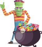 Halloween Zombie Cartoon Vector Character - with Cauldron full of Sweets