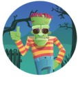 Halloween Zombie Cartoon Vector Character - With Cool Background Illustration