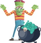 Halloween Zombie Cartoon Vector Character - With Halloween Caldron