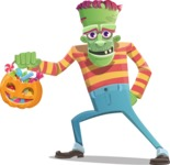 Halloween Zombie Cartoon Vector Character - with Halloween Pumpkin and Candies