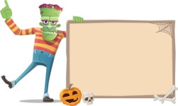 Halloween Zombie Cartoon Vector Character - With Whiteboard on Halloween Theme