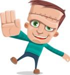 Little Monster Kid Cartoon Vector Character - Hello