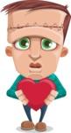 Little Monster Kid Cartoon Vector Character - Show Love