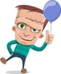Little Monster Kid Cartoon Vector Character - Balloon