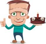 Little Monster Kid Cartoon Vector Character - Holding Cake