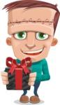 Little Monster Kid Cartoon Vector Character - Gift