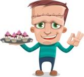 Little Monster Kid Cartoon Vector Character - Dessert