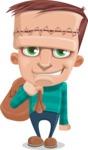 Little Monster Kid Cartoon Vector Character - Holding Sack