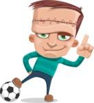 Little Monster Kid Cartoon Vector Character - Soccer