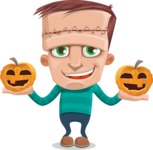 Little Monster Kid Cartoon Vector Character - Pumpkin