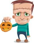Little Monster Kid Cartoon Vector Character - Pumpkin 2