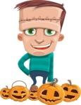 Little Monster Kid Cartoon Vector Character - Pumpkin 3