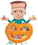 Little Monster Kid Cartoon Vector Character - Pumpkin 4