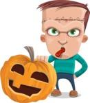 Little Monster Kid Cartoon Vector Character - Pumpkin 5