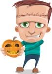 Little Monster Kid Cartoon Vector Character - Pumpkin Lantern