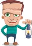 Little Monster Kid Cartoon Vector Character - Lantern