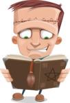 Little Monster Kid Cartoon Vector Character - Curse Book