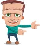 Little Monster Kid Cartoon Vector Character - Point