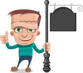 Little Monster Kid Cartoon Vector Character - Street Sign