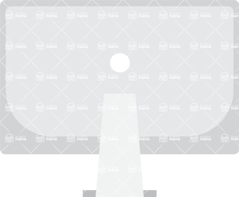 Collection of Business Vector graphics in flat design - Apple Monitor Screen Back View