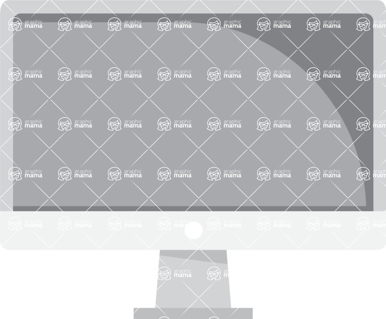 Collection of Business Vector graphics in flat design - Apple Monitor Screen Front View
