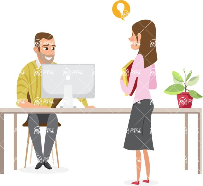 Collection of Business Vector graphics in flat design - Boss and Employee with Idea