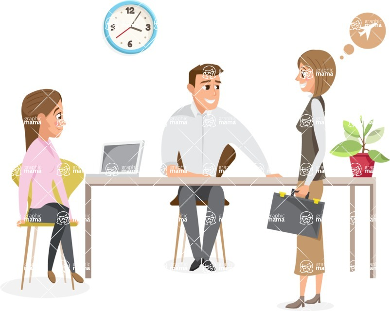 Collection of Business Vector graphics in flat design - Business Meeting