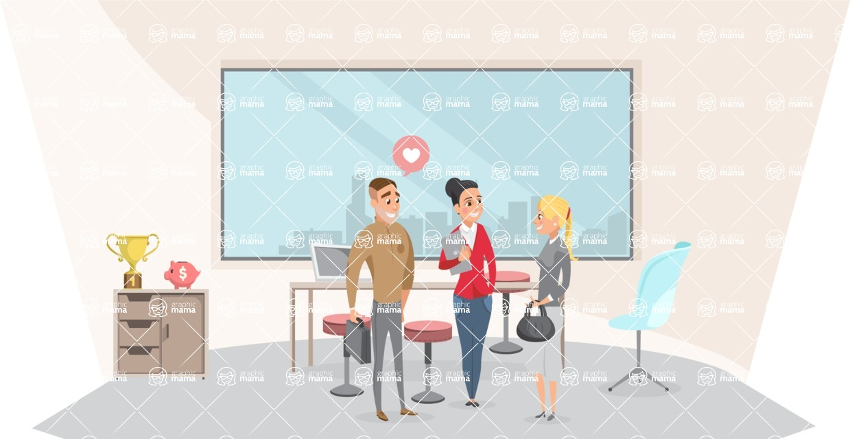 Collection of Business Vector graphics in flat design - Business People Talking in Conference Room